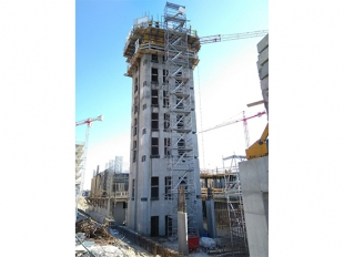 Slipform construction of reinforced concrete core of BRB A building completed in November