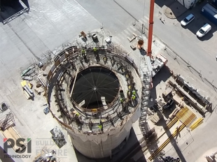 Slipform construction of a bypass silo for the cement plant in Királyegyháza was completed in September