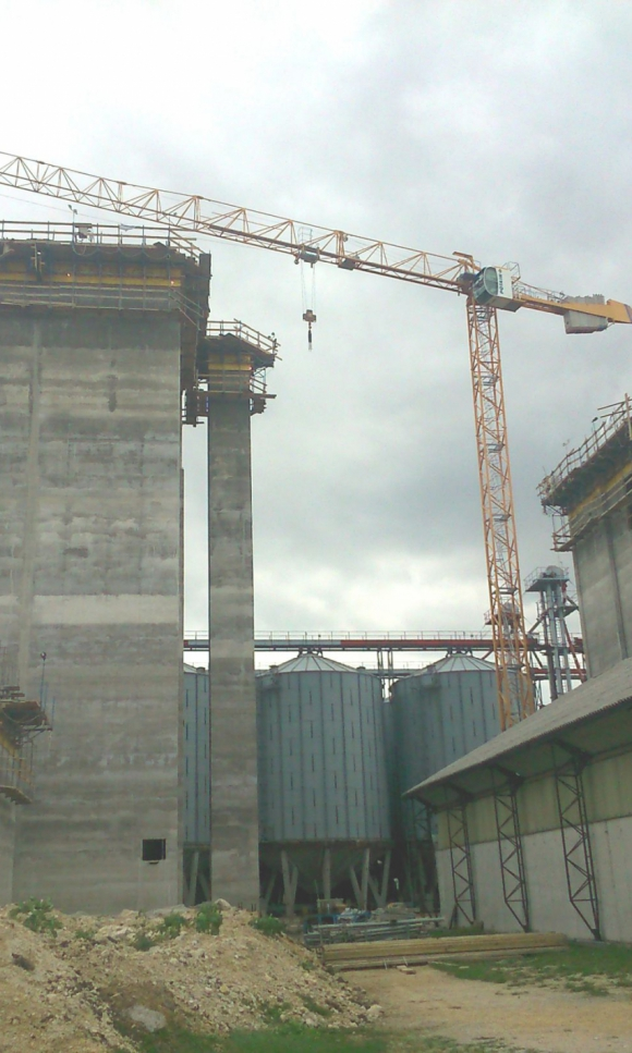 Slipform construction of grain mill and silos